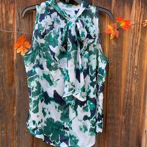 New York & Co mix-Print tie-neck sleeveless blouse